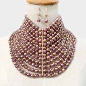 Jewelry - Multi Strand Pearl Collar Choker Necklace